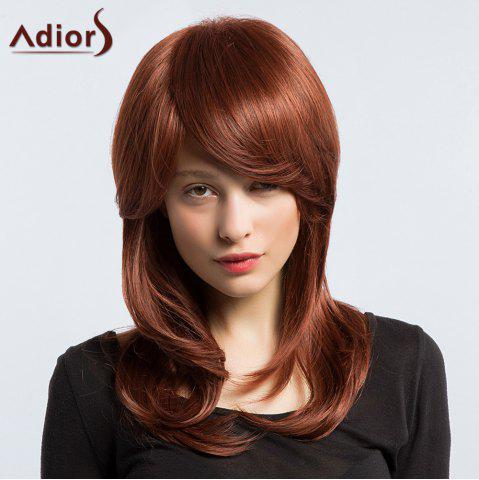Store Adiors Long Silky Slightly Curled Inclined Bang Synthetic Wig - WINE RED  Mobile