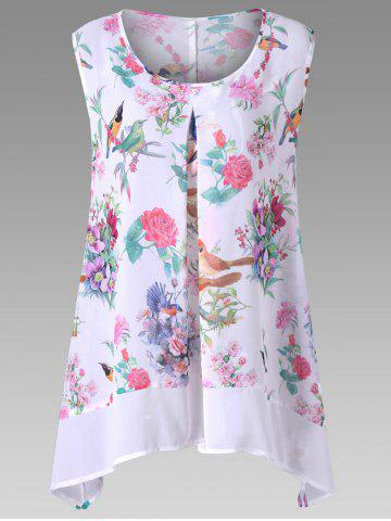 Buy Plus Size Birds Floral Print Chiffon Asymmetric Top - 3XL WHITE Mobile