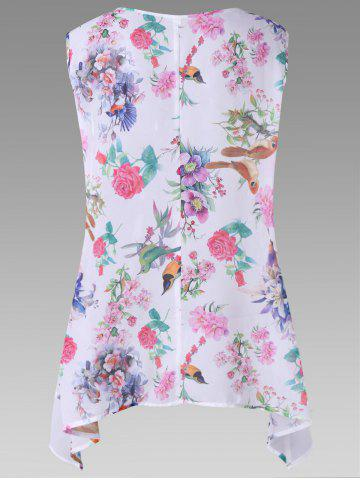 Hot Plus Size Birds Floral Print Chiffon Asymmetric Top - 3XL WHITE Mobile