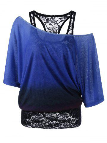 Discount Cold Shoulder Lace Ombre Top