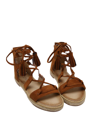 Sale Espadrilles Tassels Gladiator Tie Up Sandals BROWN 39