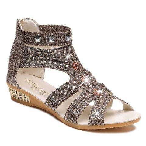 Store Rivets Rhinestones Low Wedge Sandals