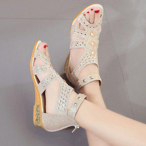Discount Rivets Rhinestones Low Wedge Sandals - 39 APRICOT Mobile