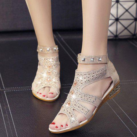 Online Rivets Rhinestones Low Wedge Sandals - 39 APRICOT Mobile