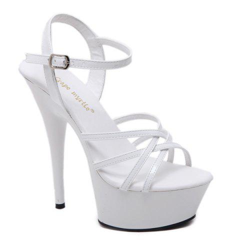 Online Patent Leather Cross Strap Sandals