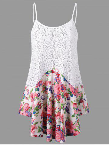 Outfits Lace Panel Floral Tank Top