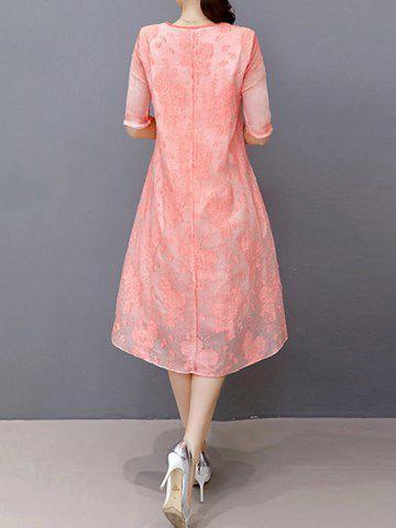 Discount Embroidered Layered Modest A Line Dress - S LIGHT PINK Mobile