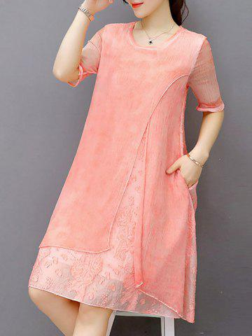 Fashion Embroidered Layered Modest A Line Dress - S LIGHT PINK Mobile