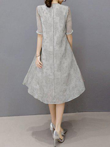 Online Embroidered Layered Modest A Line Dress - XL GRAY Mobile