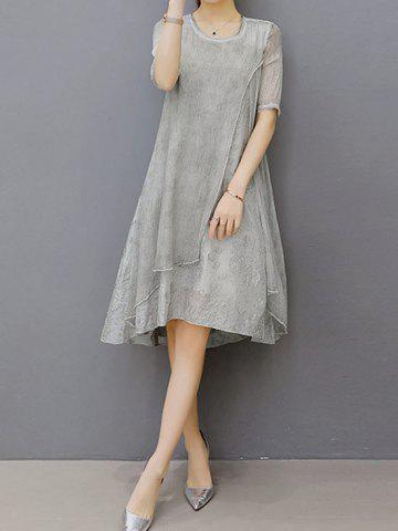 Hot Embroidered Layered Modest A Line Dress - XL GRAY Mobile