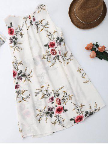 New Sleevelss Chiffon Mini Floral Dress - S WHITE Mobile