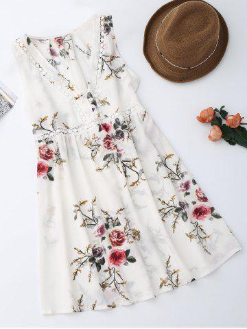 New Sleevelss Chiffon Mini Floral Dress WHITE M