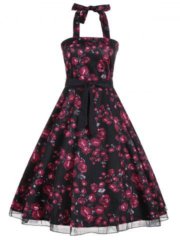 Latest Halter Floral Print Belted Retro Style Dress