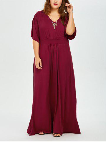 V Neck Plus Size Maxi Long Formal Evening Dress - Deep Red - 6xl