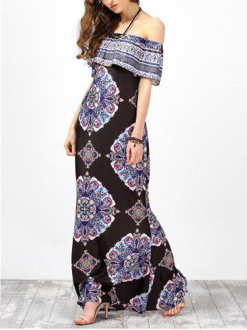 Fancy Off The Shoulder Floral Maxi Boho Summer Dress - 2XL BLACK Mobile