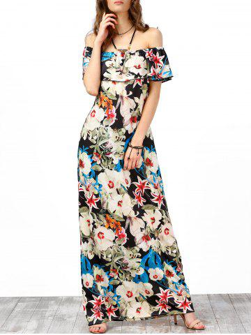 Affordable Off The Shoulder Floral Maxi Boho Summer Dress - 2XL OFF-WHITE Mobile