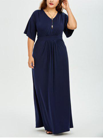 V Neck Plus Size Maxi Long Formal Evening Dress - Purplish Blue - 3xl
