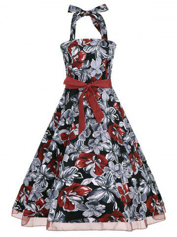 Fashion Halter Floral Print Belted Retro Style Dress
