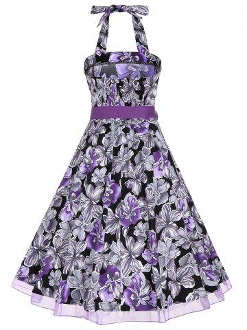 Store Halter Floral Print Belted Retro Style Dress - L PURPLE Mobile