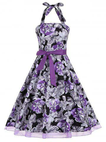 Fancy Halter Floral Print Belted Retro Style Dress - L PURPLE Mobile