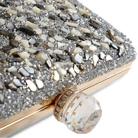 Affordable Chains Rhinestone Gravel Evening Bag - SILVER  Mobile