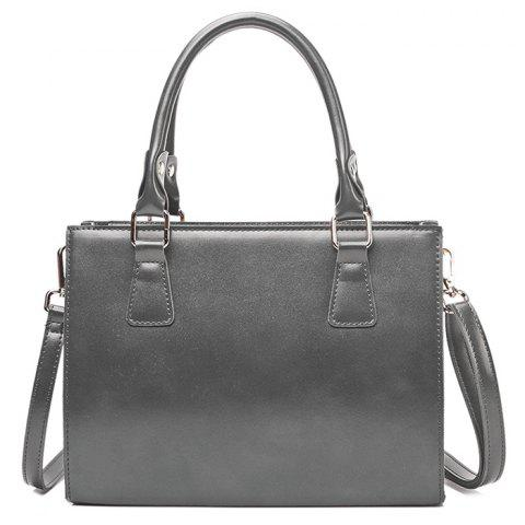 Cross Body Faux Leather Tote Bag - Light Gray - L