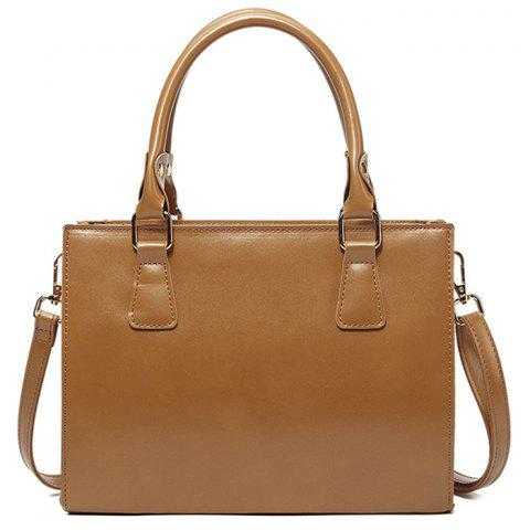 Cross Body Faux Leather Tote Bag - Brown