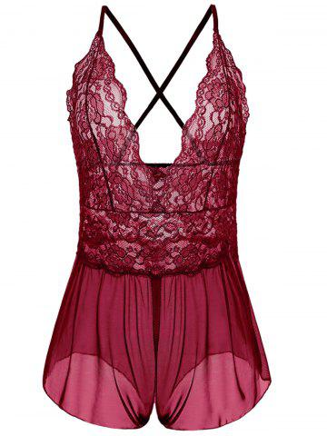 Latest Plus Size Plunging Neck See Through Babydoll WINE RED XL