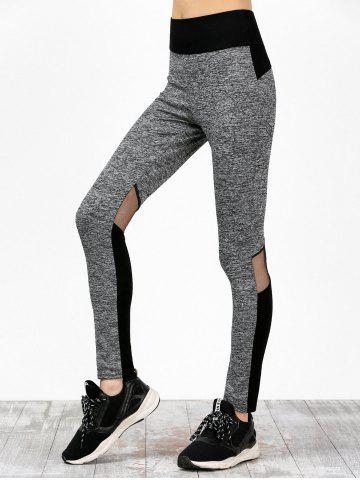 Mesh Insert High Waisted Color Block Sweatpants - Black And Grey - Xl