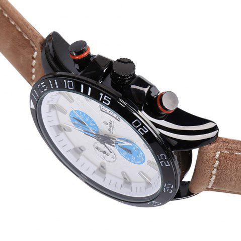Fancy Faux Leather Strap Number Date Analog Watch - BLUE  Mobile
