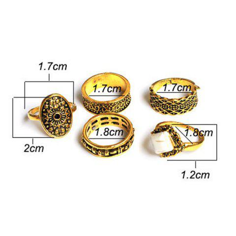 Outfit Engraved Flower Geometric Ring Set - GOLDEN  Mobile