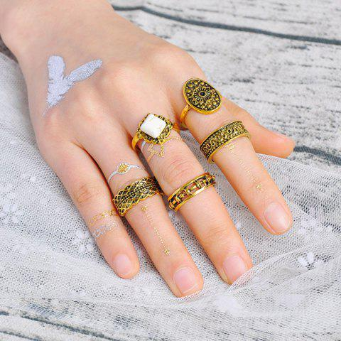 Discount Engraved Flower Geometric Ring Set - GOLDEN  Mobile