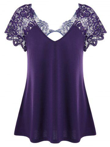 Fashion V Neck Plus Size Lace Trim Cutwork T-Shirt - 5XL DEEP PURPLE Mobile