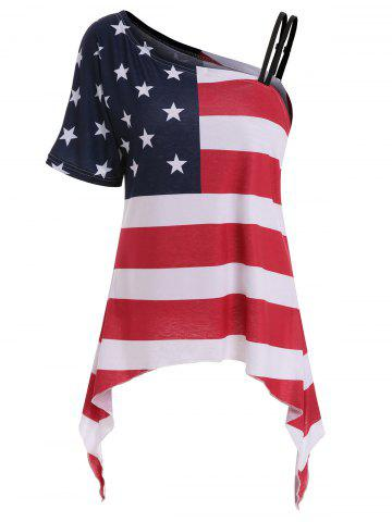 Hot Skew Collar American Flag Print Asymmetrical Tee