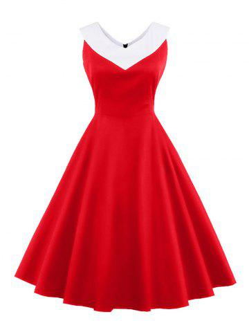 New V Neck Empire Waist A Line Swing Vintage Dress