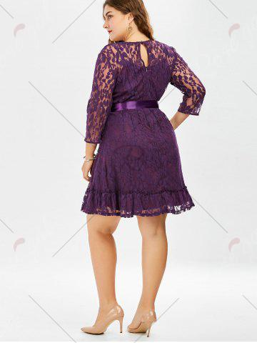 Latest Lace Plus Size Skater Dress with Sleeves - 8XL PURPLE Mobile