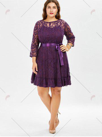 Sale Lace Plus Size Skater Dress with Sleeves - 8XL PURPLE Mobile