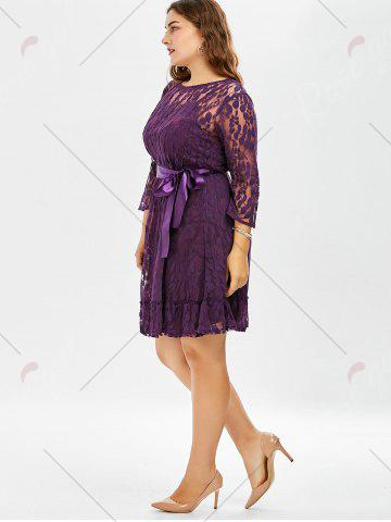 Chic Lace Plus Size Skater Dress with Sleeves - 8XL PURPLE Mobile