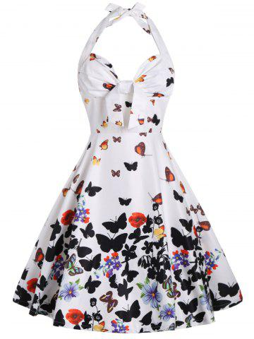 Halter A Line Butterfly Print Dress - White - 2xl