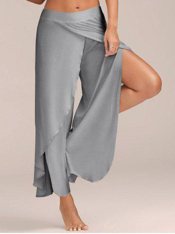 Flowy Layered High Waisted Slit Palazzo Pants - Light Grey - 2xl
