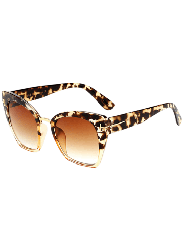 Unique UV Protection Metallic Square Mirrored Reflective Sunglasses TEA-COLORED