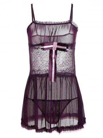 New Lace Insert Sheer Slip Babydoll with Ruffles - ONE SIZE DEEP PURPLE Mobile