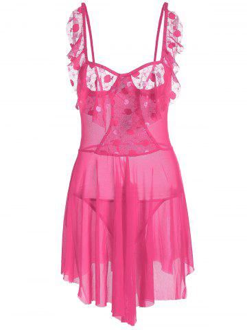 Unique Low Cut Mesh Sheer Flounce Cami Babydoll - ONE SIZE ROSE MADDER Mobile