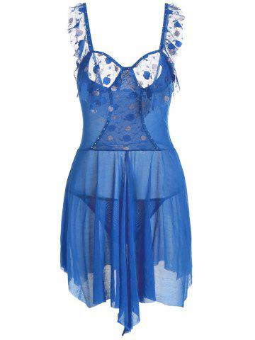 Outfit Low Cut Mesh Sheer Flounce Cami Babydoll BLUE ONE SIZE