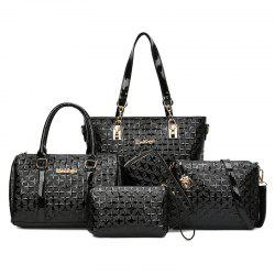 5 Pieces Rhombic Embossed Handbag Set - BLACK