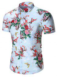 Floral Printed Chinese Style Shirt