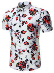 Short Sleeves Roses Printed Shirt