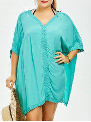 Plus Size V Neck Dolman Sleeve Cover-Up - LIGHT GREEN