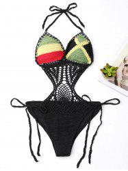 Crochet Halter Color Block One Piece Swimsuit