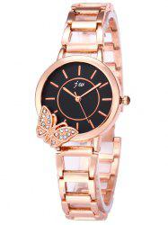 JW Rhinestone Butterfly Wrist Quartz Watch - Noir